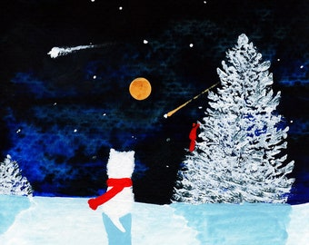 Westie Terrier Dog Art PRINT Todd Young painting Winter Stars