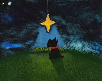 Scottie Dog Folk Art PRINT Todd Young painting Wishing Star