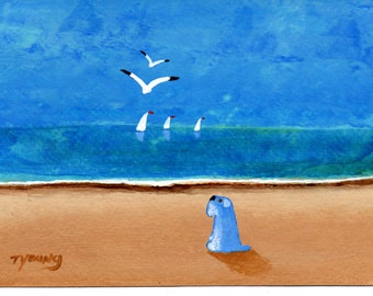 Schnauzer Dog folk art PRINT of Todd Young painting At The Beach