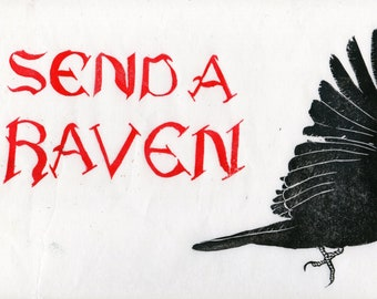 Send A Raven Linocut - Gothic text with Raven print - Black, White and Red