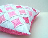 SALE Decorative Pillow Cover Throw Pillow Pink Batik Cathedral Window 18 Inch