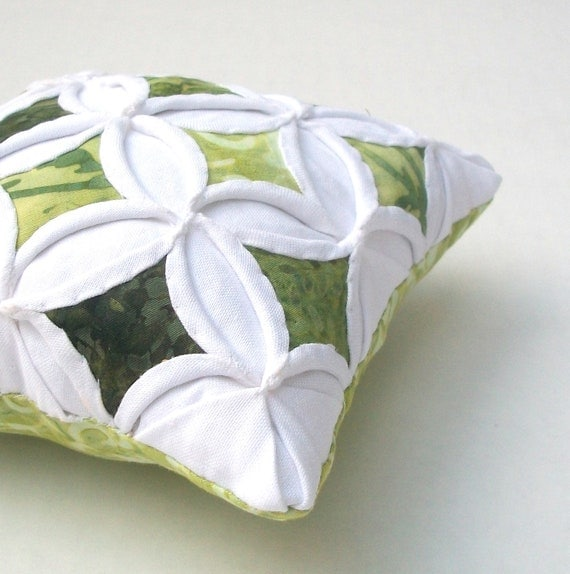 25% Off Pincushion Green Batik Miniature Cathedral Window Pillow - 5 Inches Square