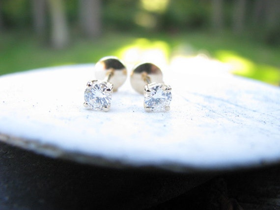 RESERVED for Lesley....Classic Vintage 14K Gold Diamond Stud Earrings .50 carat with Appraisal