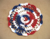 "New Handmade Crocheted ""Elegance"" Coaster/Doily in Red/White/Blue"