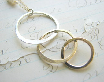 Three Sisters Necklace -  Best Friends - 3 Triple Trio Infinity Linked Rings Circles Gold Sterling Silver