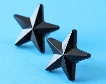 Nautical Star Stud Earrings - Black - Rockabilly Earrings