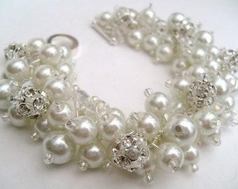 Bridal Jewelry, Wedding, White Pearl Bridesmaid Bracelet, Pearl and Rhinestone Bracelet, Cluster Bracelet, Pearl Bracelet, White Pearl