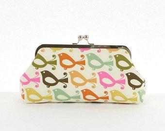 Bird Lover Clutch Purse Brown Orange Green Pink Bird Clutch Purse Handbag