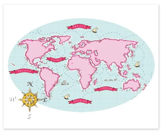 Children's Wall Art Print - Nautical Map (Berry & Mint) - Kids Nursery Room Decor