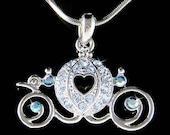 Blue Cinderella Wedding Swarovski Crystal Pumpkin Carriage Pendant Necklace