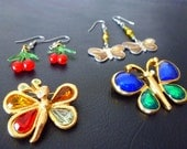 Vintage jewelry- butterflies and cherries earrings and pins