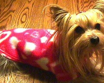 RED HEARTS Dog Sweater/Coat YORKIE (xxxs-xxs-xs-s-m-l)