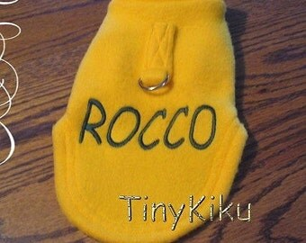 GOLD PERSONALIZED with D-RING Fleece Dog Coat/Sweater xxxs-xxs-xs-s-m-l Yorkie