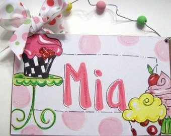 Cupcakes hand personalized kids room name sign