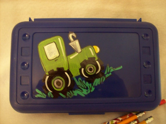 Cute fun tractor pencil box perfect for class or childrens room hand painted and personalized