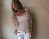ivory poncho, women's white summer poncho, loose knit