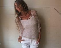 ivory poncho, women's white summer poncho, loose knit boho poncho