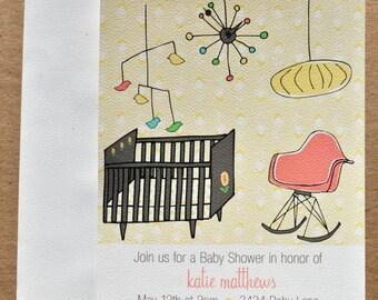 Mid Century Modern Nursery Baby Shower Invitation with Stickers Set