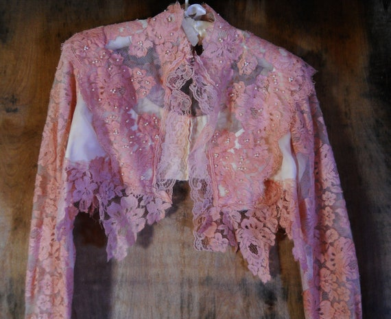 RESERVED for Chanda Beaded lace shrug tea stained  vintage wedding rustic  bohemian  medium  by vintage opulence on Etsy