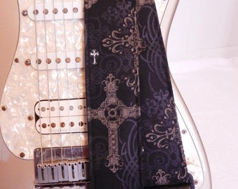 black gothic cross guitar strap