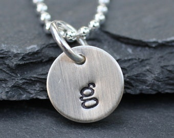 Tiny Initial Necklace - Hand Stamped in Sterling Silver