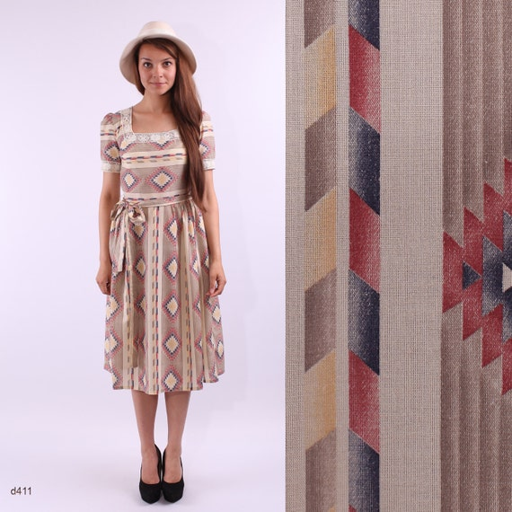 Vintage 60s Tribal Summer Dress / Aztec Print Dress / S to M