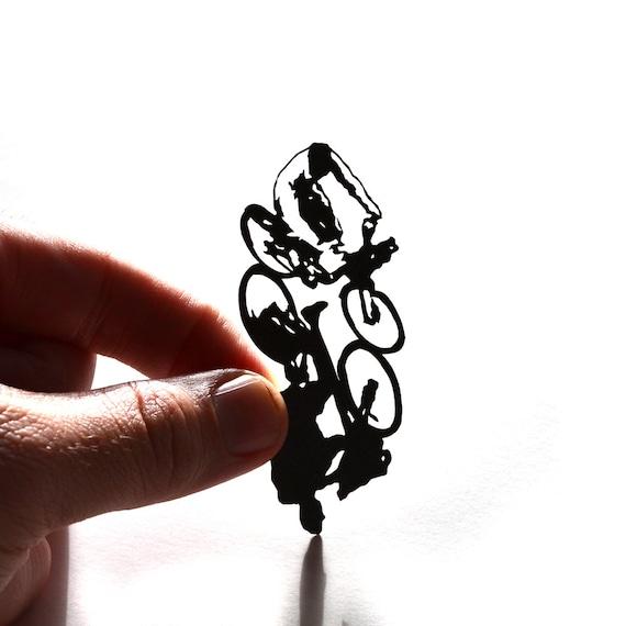 Bicycle, micro papercut, framed 11x14 original