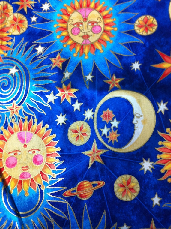 Celestial sun moon stars planet cotton fabric for Moon and stars fabric