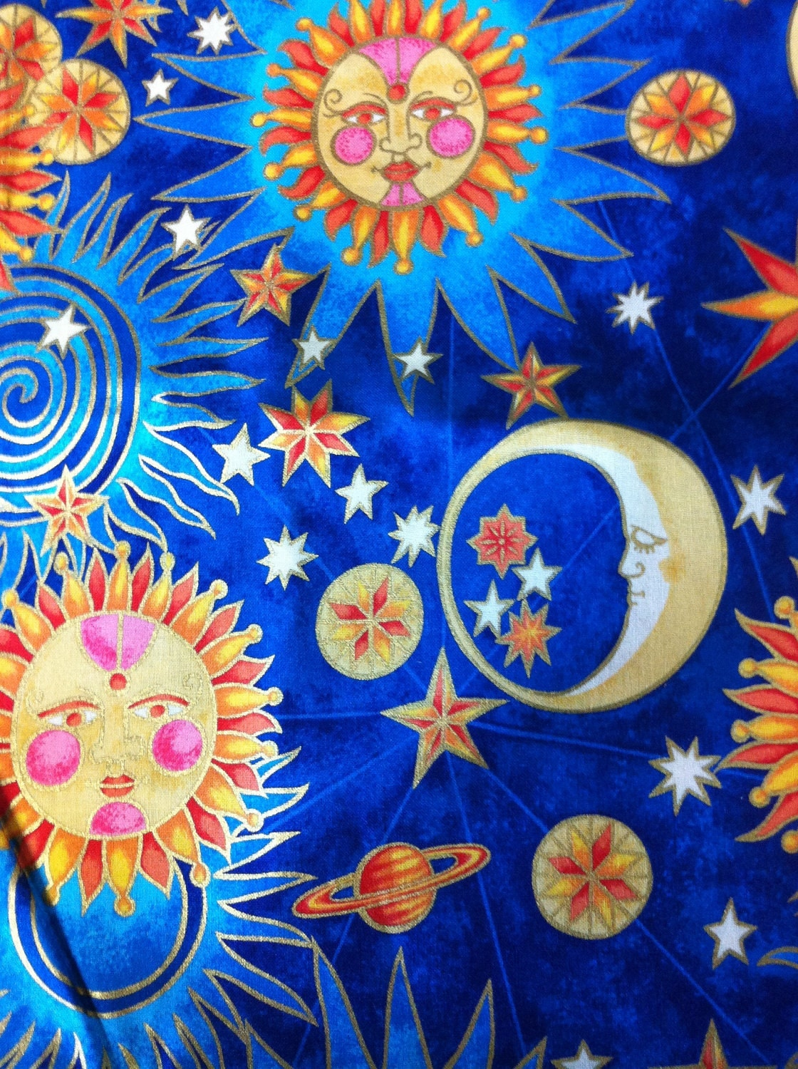 Celestial sun moon stars planet cotton fabric for Sun moon fabric