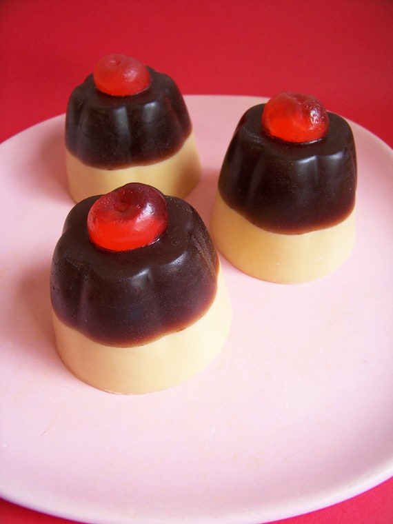 Pudding Soap Chocolate Cherry - Chocolate Soap, Cherry Soap, Dessert Soap, Fake Food Soap, Soap Favors, Soap Pudding, Realistic Food Soap