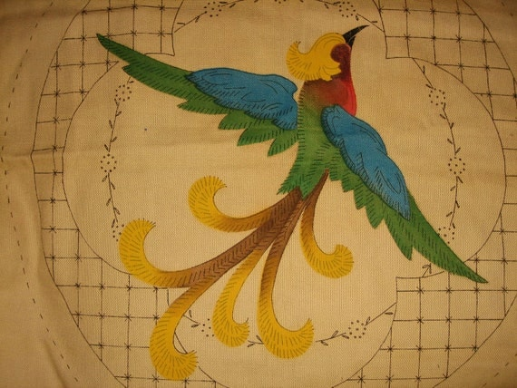 Vintage ROYAL SOCIETY Linen Embroidery - Stamped Bird Embroidery - Royal Society No. 5522