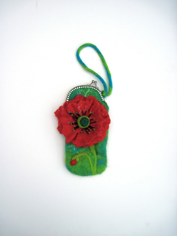 Wet Felted POPPY glass case or coin purse , iphone case, hand made with metal clutch