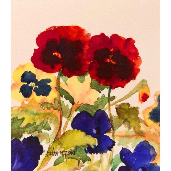 Pansy Garden Original Watercolor Painting