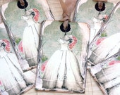 Wedding Dress Shabby French Gift Tags