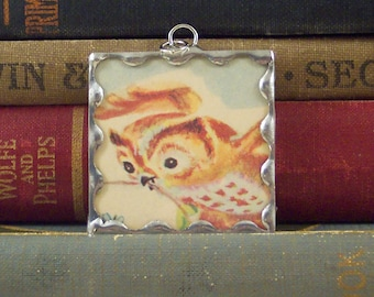 SALE - Owl  Pendant - Mixed Media Soldered Charm with Vintage Book Illustration - Woodland Bird Necklace - Flying Owl Charm
