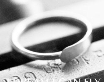 18mm 18g Silver Conch Piercing Hoop - 18mm Hammered hoop earring in 18 gauge solid sterling silver
