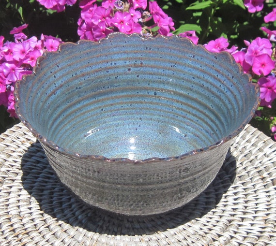 Pottery Bowl Rocky Mountain Serving Blue - Carved - Handmade Pottery by The Wheel and I