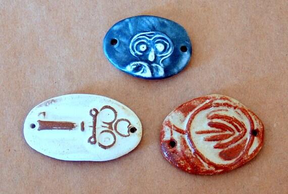 3 Handmade Ceramic Beads - Sweet Set of  Bracelet Beads - Rustic Designs