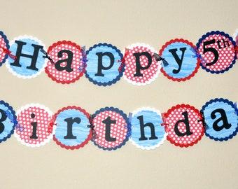 Nautical Birthday Banner. Banner. Sailing. Sailor. Sailboat. Happy Birthday. Red and Blue. Anchor