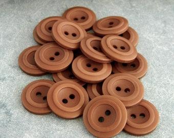 Vintage 1970's Brown Plastic Buttons-2 Dozen