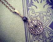Victorian glass mourning necklace.