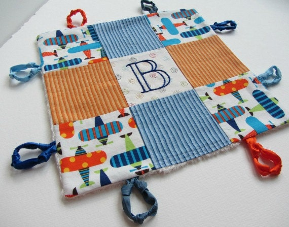 Baby Boy Organic Lovey with Initial or Name Hand Embroidered ~ Choice of Backing Fabric ~ Robert Kaufman Airplanes ~ Blue Orange White Green