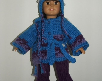 Crochet Pattern AG-Dolly and Me Iceland Sweater Set