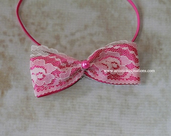 Lacey Pink Bow - Oh gosh you must buy this, its sooo cute,  Newborn photo prop, girls headband
