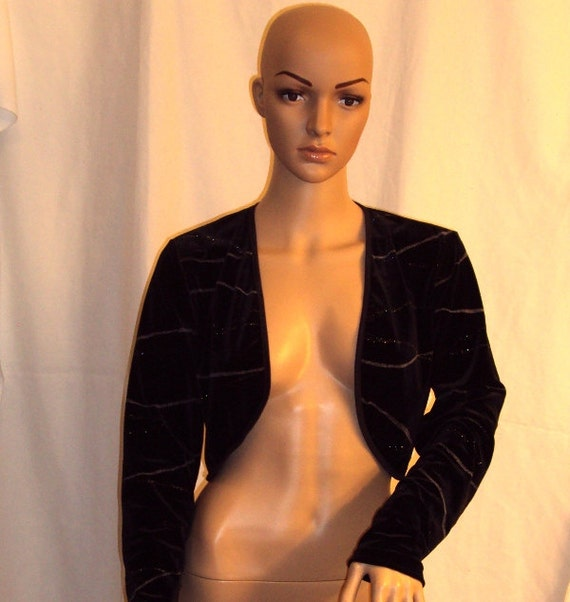 Vue Point by Jordan Vintage Classic Black Velour Bolero Jacket Size Medium