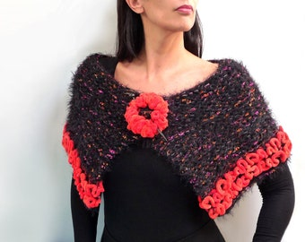 Knit Capelet / Wrap / Scarf - Black Wool and Orange Ruffle Chenille - BLACK FIRE