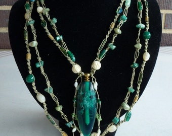 Handmade Extra Long Macrame Necklace in Emerald Green, Scent Bottle with Removable Lid, Many Quality Beads, Wear Long or Doubled,