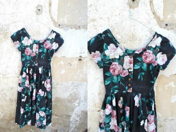 Vintage 1980 floral garden tea time dress size XXS/XS