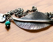Unique Feather Bracelet Handcrafted in Sterling Silver and Turquoise  Oxidized Metalwork