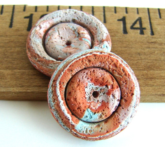 Handmade Polymer Clay Blue Disc Beads - Pitted